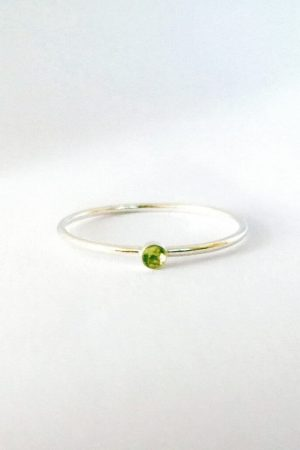 Tiny Silver Peridot Ring