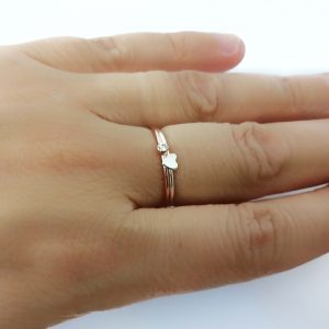 Tiny Peridot Silver Stacking Ring