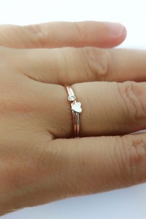 Tiny Opal Silver Ring – October Birthstone
