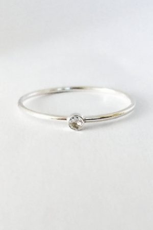 Tiny Gold Diamond Ring | Minimalist, Stackable Solitaire Ring