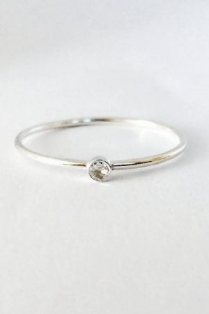 Tiny Diamond Solitaire Ring in Sterling Silver