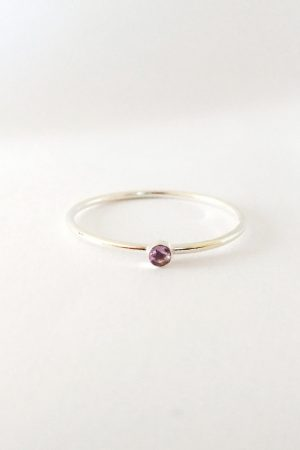 Tiny Amethyst Silver Ring – stackable