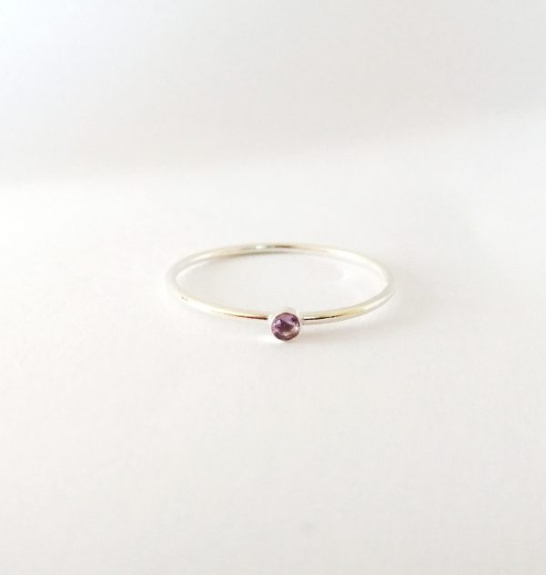 tiny 2mm amethyst stacking ring august birthstone willow and stag jewellery studio
