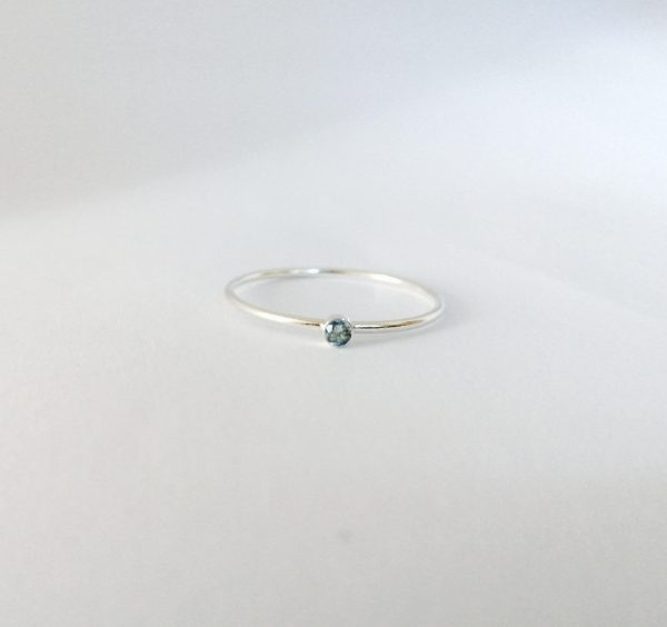 dainty minimal sky blue topaz 2mm stacking ring