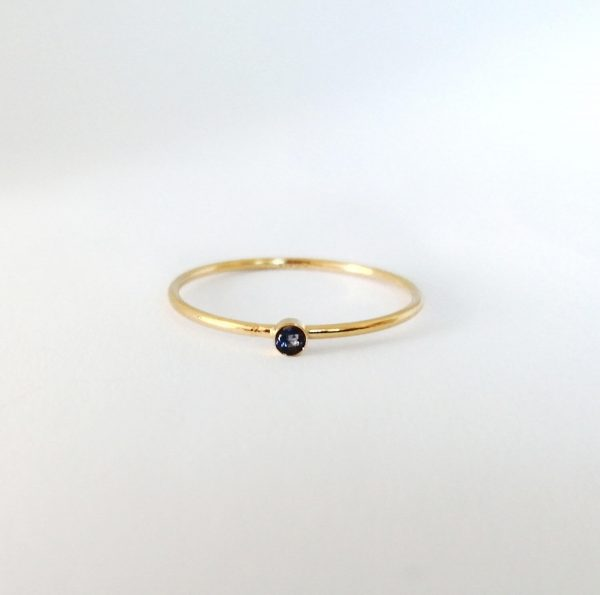 tiny 2mm blue sapphire gold filled ring from willow and stag studio