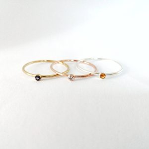 Tiny Blue Sapphire Gold Stacking Ring
