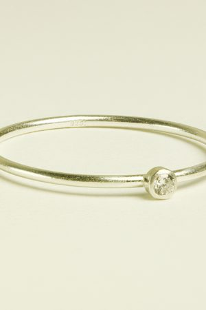Tiny Diamond Silver Stacking Ring