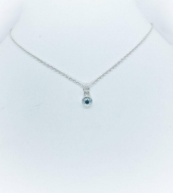 Blue Topaz Silver Pendant Necklace