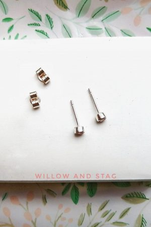 3mm Blue Stud Earrings – September birthstone