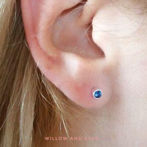 3mm Blue Stud Earrings – September birthstone