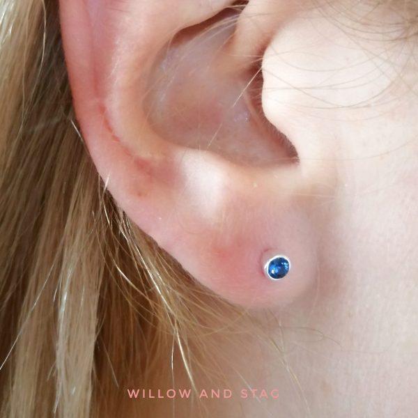 3mm blue gem earrings september
