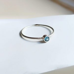 Tiny Blue Topaz Ring – stackable
