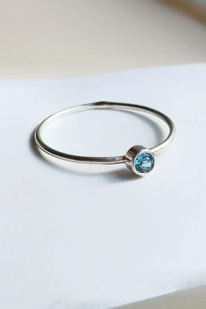 Swiss Blue Topaz Dainty Ring