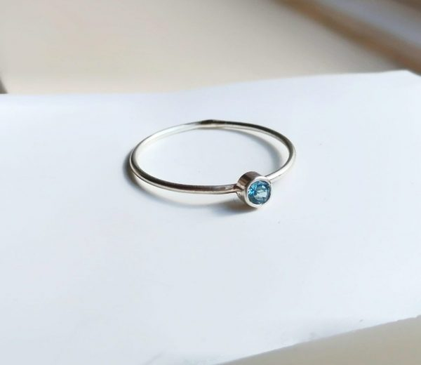 swiss blue topaz dainty ring 3mm topaz