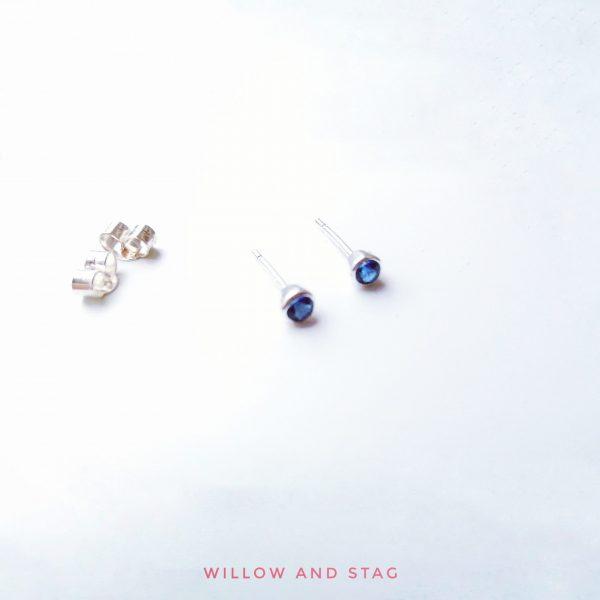blue sapphire small stud earrings