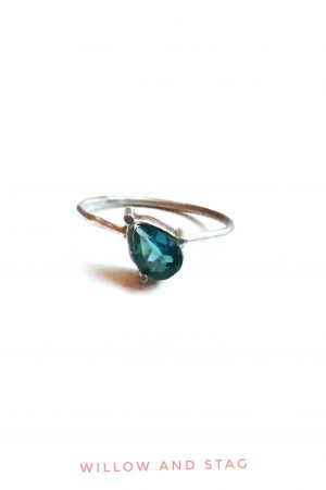 Offset Blue Topaz Silver Ring