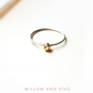 Tiny Citrine Silver Ring – stackable – November Birthstone