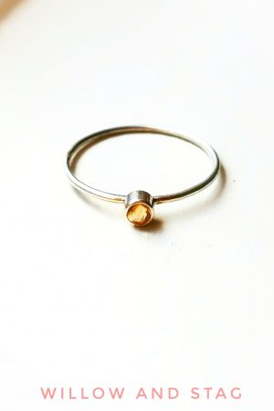 Tiny Citrine Silver Ring – November Birthstone