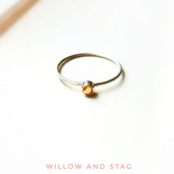 tiny citrine silver ring stackable