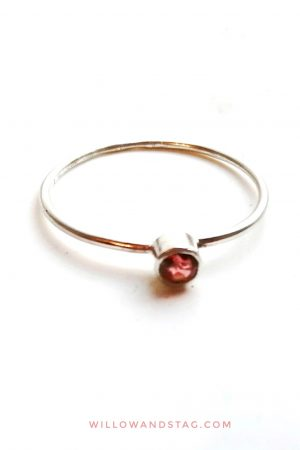 Tiny Garnet Silver Ring – stackable – January Birthstone