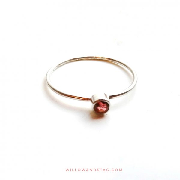 tiny garnet silver ring 3mm ring stackable january birthstone