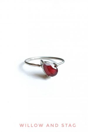 Offset Garnet Silver Ring