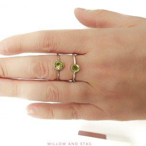 Peridot Silver Ring 5mm