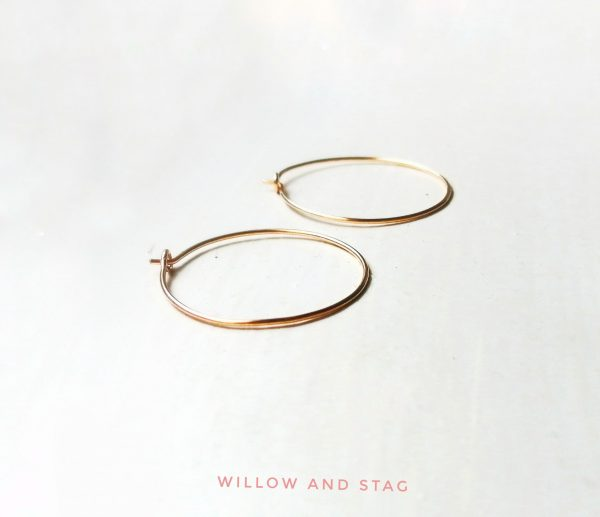 everyday gold ear hoops 20mm diameter from willow and stag jewellery