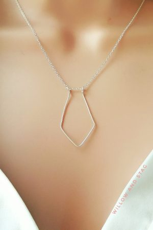 Geometric Diamond Ring Holder Necklace