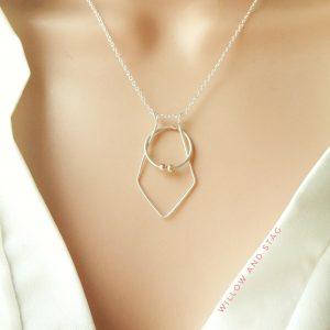 Geometric Diamond Ring Holder Necklace
