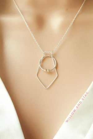 Geometric Diamond Ring Holder Necklace in Gold