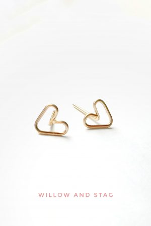 Tiny Heart Stud Earrings | Small hearts [Sterling Silver/ 14K Gold filled/ 9ct Solid Gold- yellow/ rose/ white]