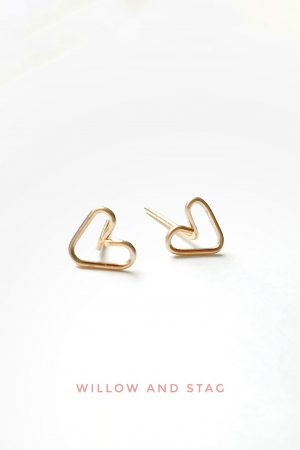 Tiny Heart Handmade Stud Earrings | Small hearts (single or pair)