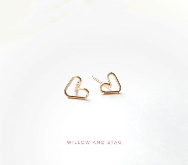 Tiny Heart Handmade Stud Earrings