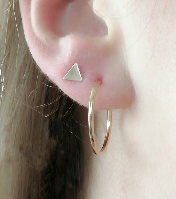 Dainty Triangle Stud Earrings shown with gold hoops Silver / Gold - yellow, white or rose