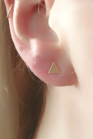 Dainty Triangle Stud Earrings – Mix & Match- single or pair