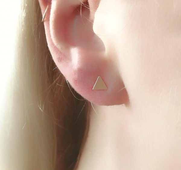 Dainty Triangle Stud Earrings Silver / Gold - yellow, white or rose
