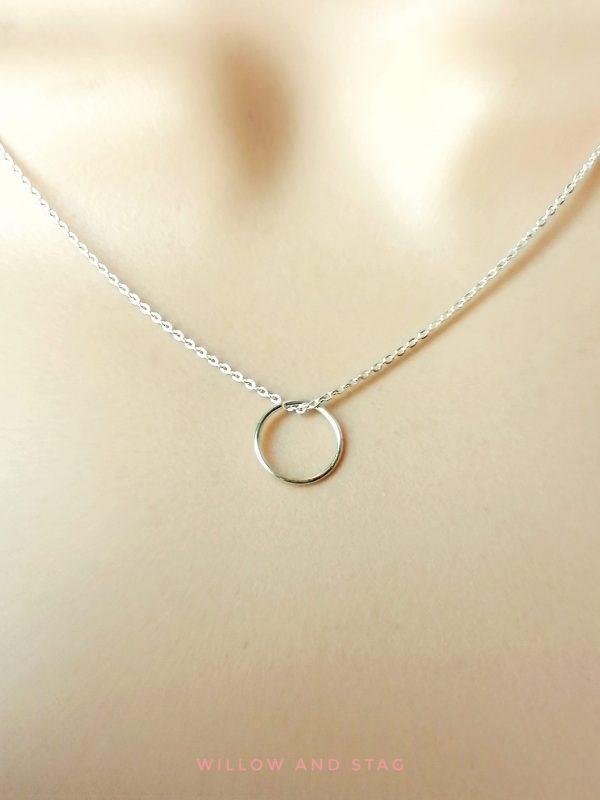 Mini hoop pendant necklace in silver 10mm delicate hoop 2