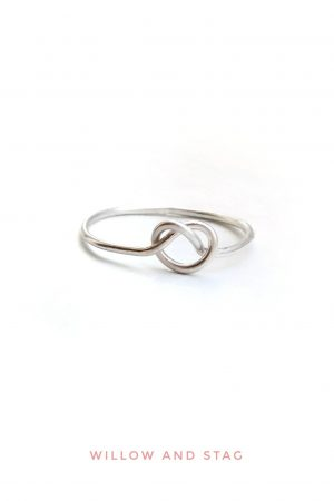 Dainty Heart Love Knot Ring in sterling silver
