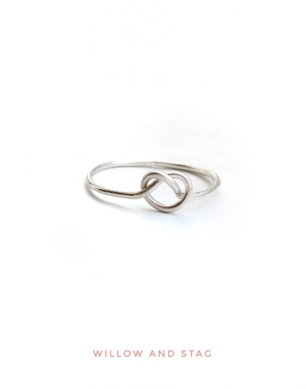 dainty heart knot ring in sterling silver