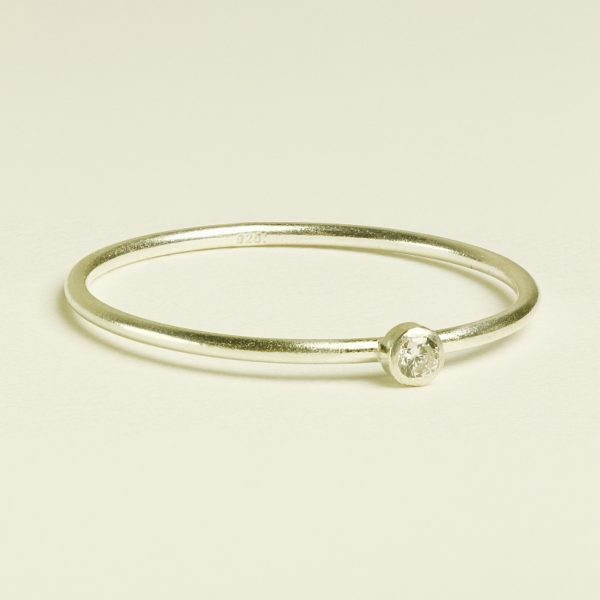 sterling silver tiny diamond ring