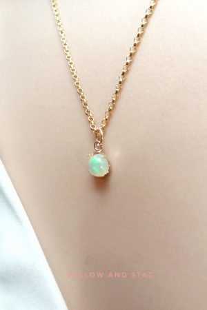 Natural Opal Gold Necklace