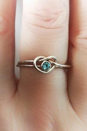 Heart Love Knot Ring Set (London Blue Topaz)